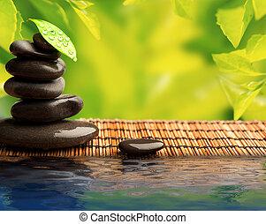石, eco, 葉, 水, 緑の背景, エステ