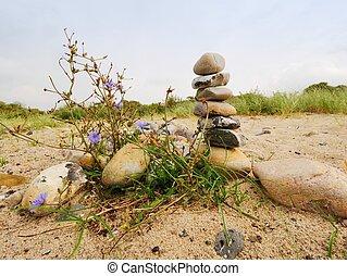 石, grass., ピラミッド, 積み重ねられた