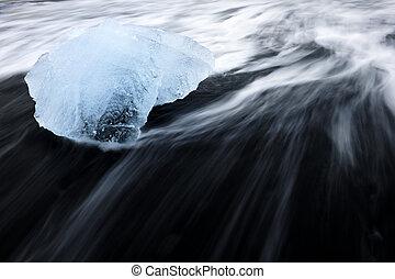 石, over., 溶岩, 水, 氷, 浮く, 浜, ブロック