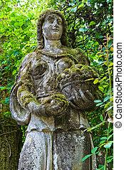 石, statue., emilia-romagna., grazzano, visconti., italy.
