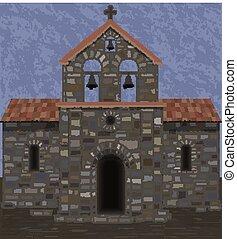 石, visigothic, 古い, イラスト, ベクトル, 教会, style.