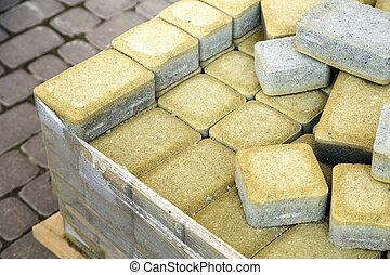 石, yard., 舗装, 取付け, 厚板