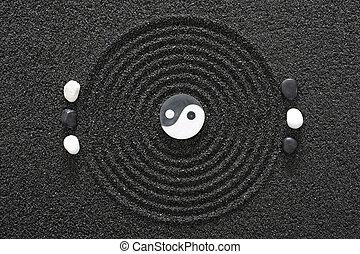 石, yin, zen 庭, yang