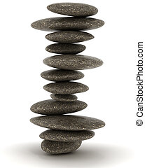 石, zen., 安定性, 黒, バランスをとられた, タワー