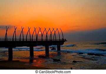 码头, 在, 日出
