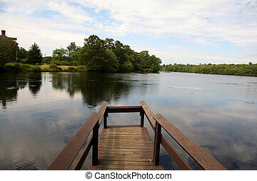 码头, 在, the, 夏天时间, 湖