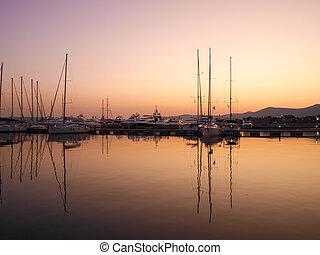 码头, marina., 日落, 游艇, 黄昏
