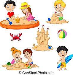 砂の 城, 遊び, 子供, サーフボード