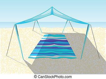 砂ビーチ, テント