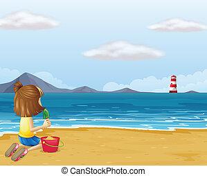 砂ビーチ, 若い 女の子, 遊び