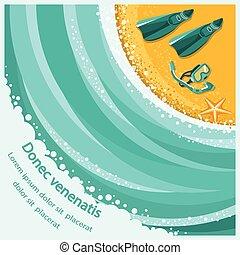 砂ビーチ, snorkeling, ダイビング, 水かき, 背景, 海, 波, スキューバ