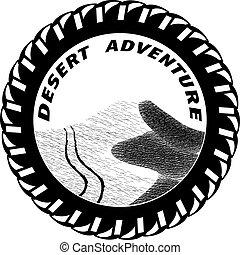砂丘, イラスト, suv, 砂, ベクトル, 跡, 砂漠
