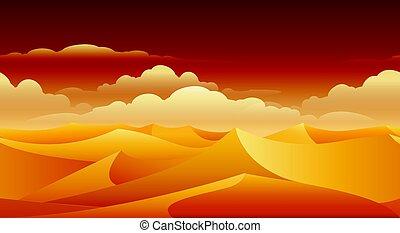 砂丘, パノラマ, 砂, sahara