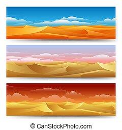 砂丘, 砂, セット, 旗
