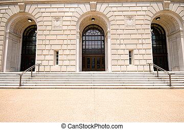 砂岩, ファサド, 入口, irs, 建物, ワシントン