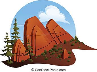 砂岩, outcropping, 赤