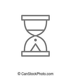 砂時計, 砂, 腕時計, 線, icon.