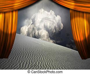 砂漠, カーテン, 開始, 見られた, 砂, によって