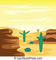 砂漠, サボテン