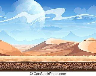 砂漠, シルエット, spaceships, seamless