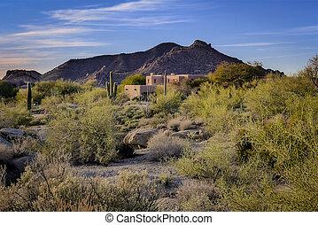 砂漠, 家, 風景