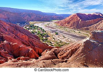 砂漠, 見られた, に対して, pedro, pukara, atacama, 村, 乾きなさい, de, san, clouds., チリ, カバーされた, 青, 川, 空, 風景, quitor