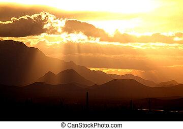 砂漠, 谷, 日没