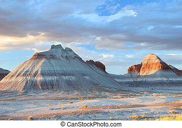 砂漠, tepee, -, 形成, ペイントされた