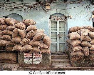 砂袋, 恐れ, インド, kolkata, テロリズム, 積み重ねられた