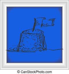 砂, いたずら書き, 城, 単純である