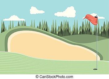 砂, のろい, ゴルフ, トラップ