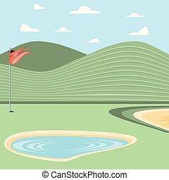 砂, のろい, ゴルフ, 湖, トラップ
