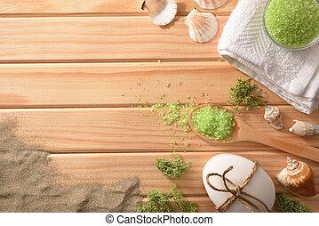 砂, テーブルの 上, 塩, 木製である, 海洋, 殻