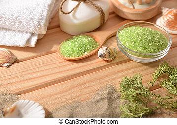 砂, テーブル, 塩, 上げられる, 木製である, 海洋, 殻