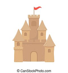 砂, デザイン, 城, 隔離された, 上, アイコン, 旗