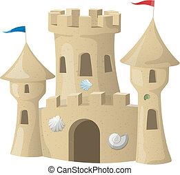 砂, ベクトル, castle., イラスト