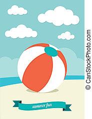 砂, ボール, 浜