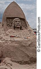砂, 人を配置する, 彫刻, 顔