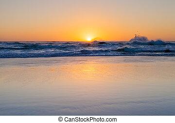 砂, 反射, 荒い, 浜, 波, 日没, 水