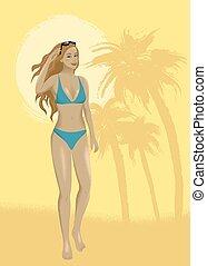 砂, 女, 浜