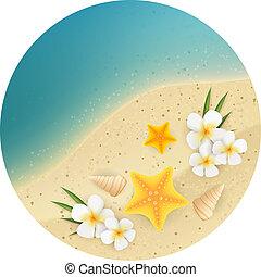 砂, 旗, ラウンド, 海