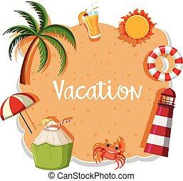 砂, 旗, 休暇, 背景