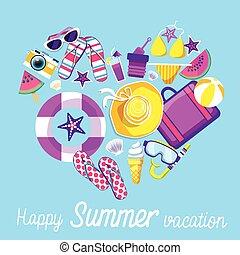 砂, 旗, 浜, 熱帯 休暇, 夏, セット