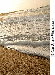 砂, 泡, shore., 手ざわり, 波