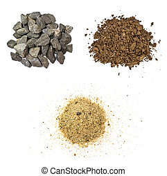 砂, 白い背景, 土壌, 石