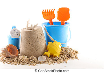 砂, 背景, 白, 夏, おもちゃ, 休日, 隔離された