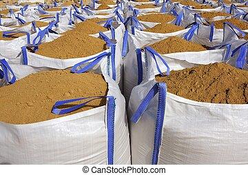 砂, 袋, 砂のう, 袋, 採石場, 大きい, 白