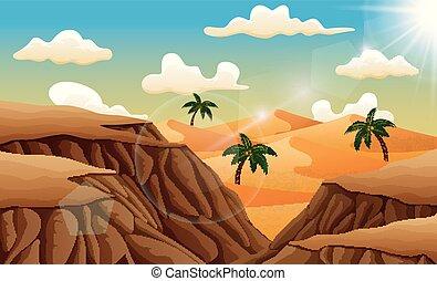 砂, 風景, 砂漠, の上, 岩