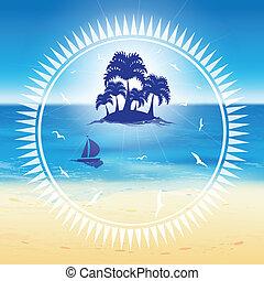 砂, island., 小さい, 浜
