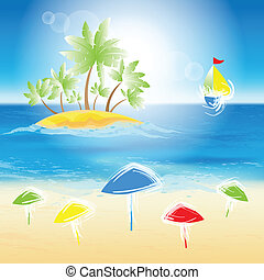 砂, island., 浜, 小さい